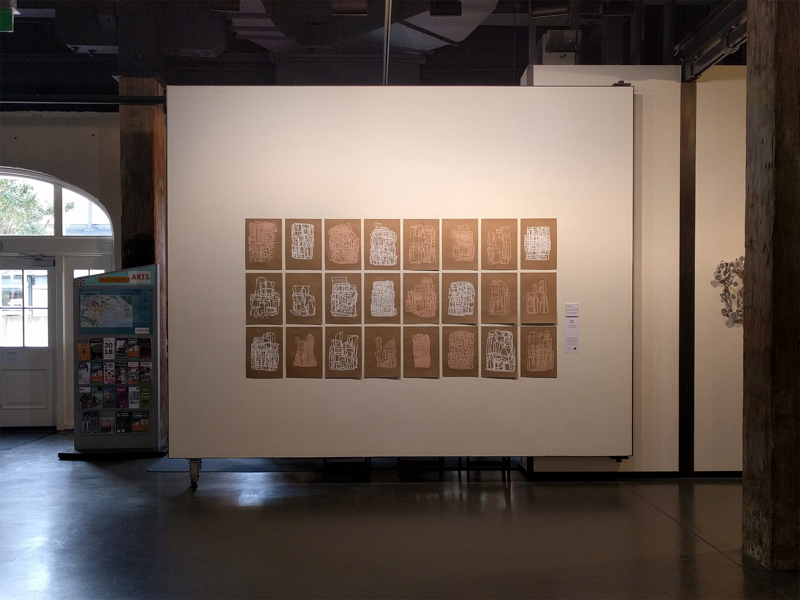 24 Drawings - pink and white oilstick on 24 sheets of A3 kraft paper - on display at the Parkin Drawing Prize