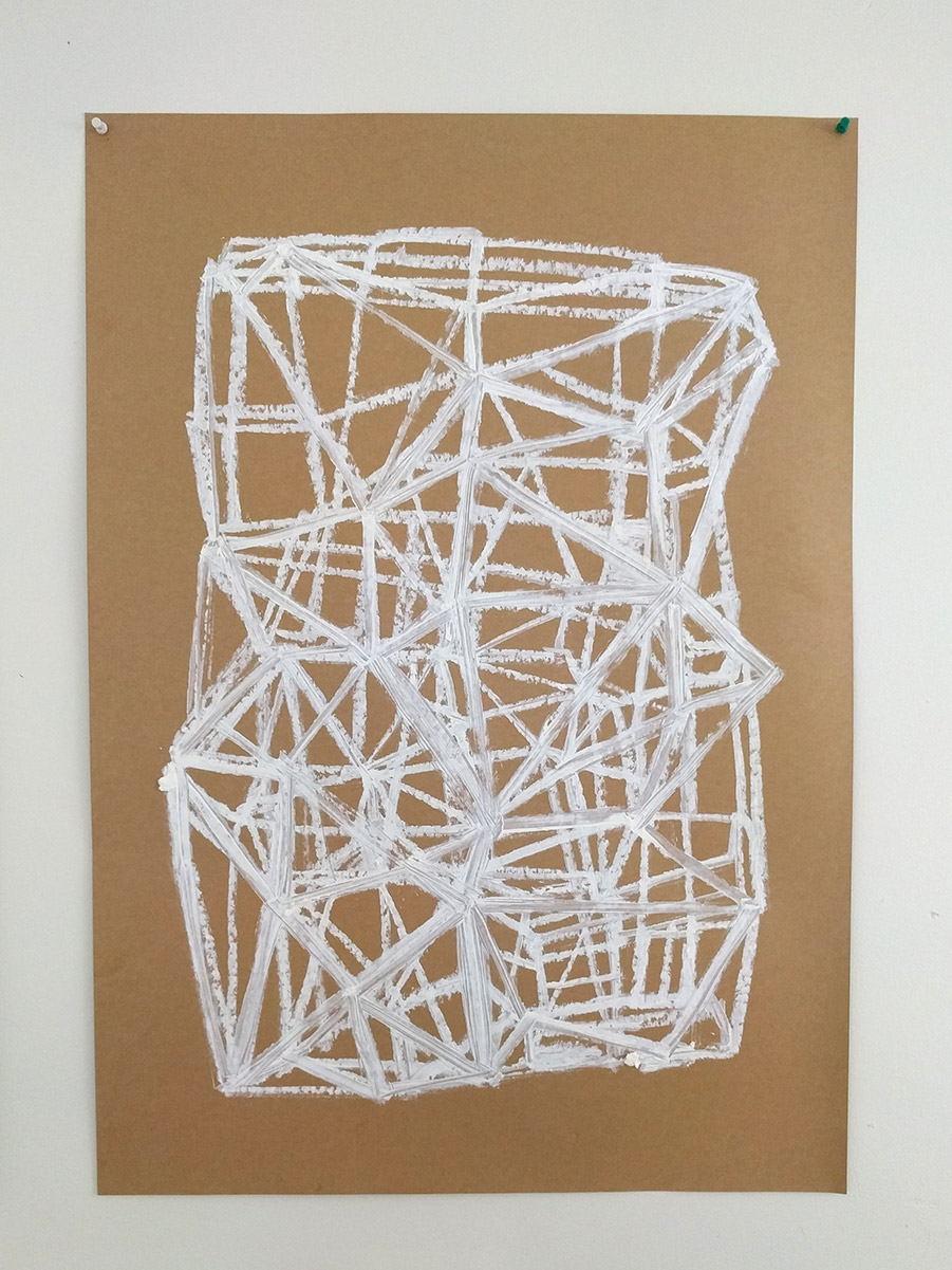 White oilstick drawing - Gary Peters 2018
