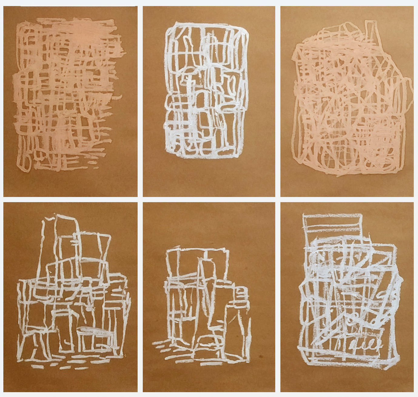 6 oil stick drawings in a 3 x 2 grid