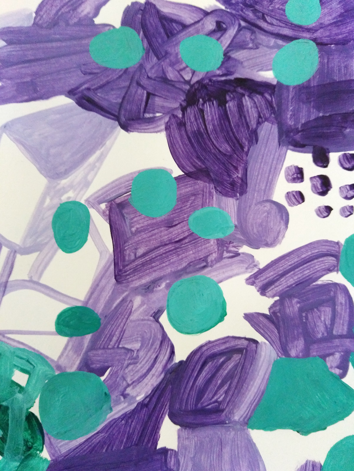 A page from my sketchbook with green paint on top of purple brush marks.