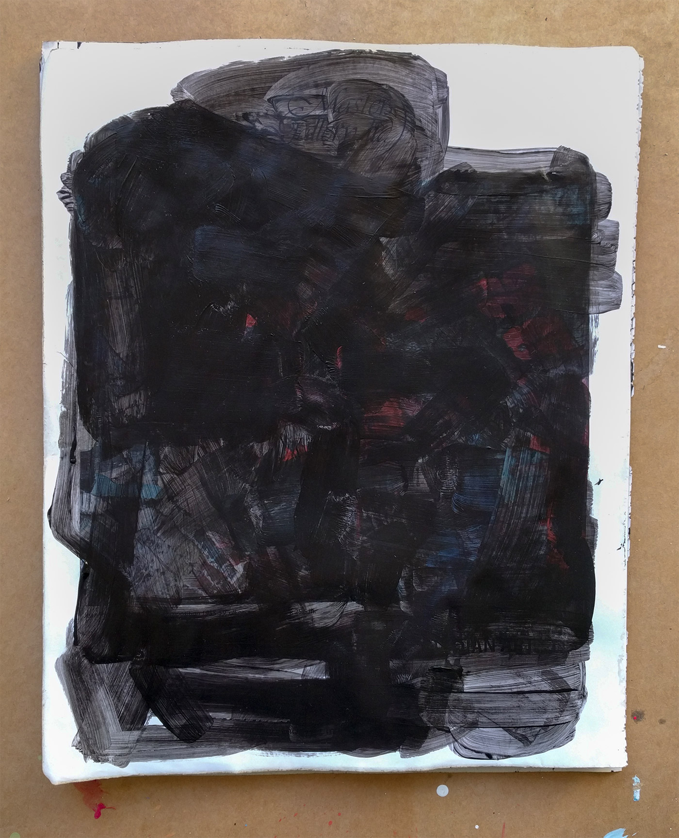 Blackout drawing - black acrylic on glossy art magazine page obscuring any images of art or people.