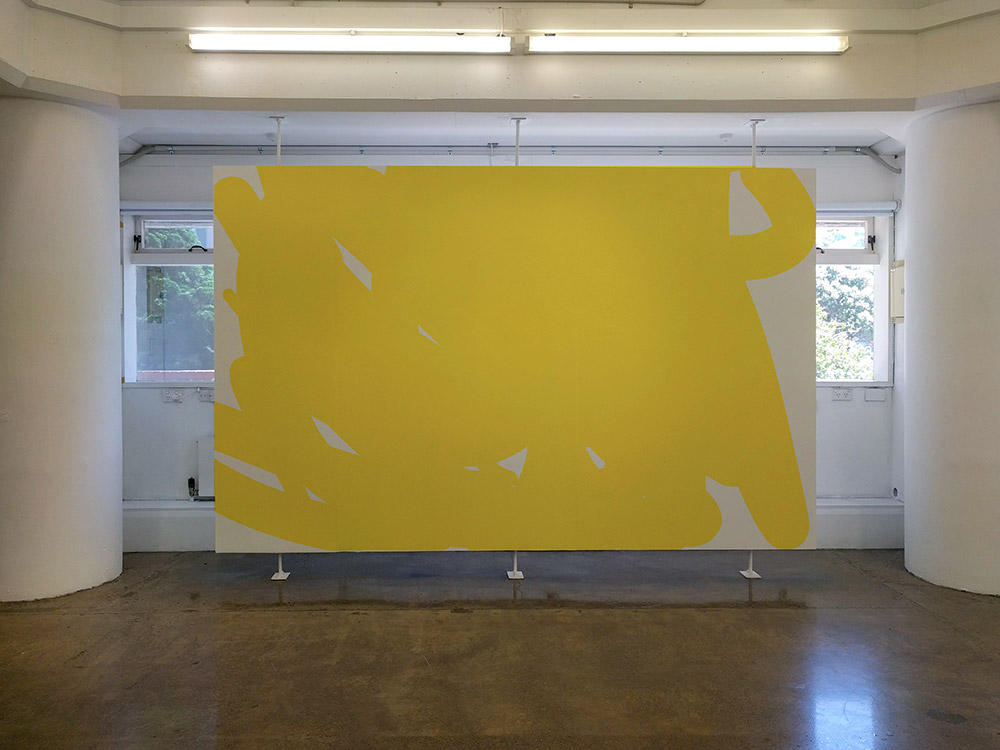 Yellow wall work on floating screen - mock up