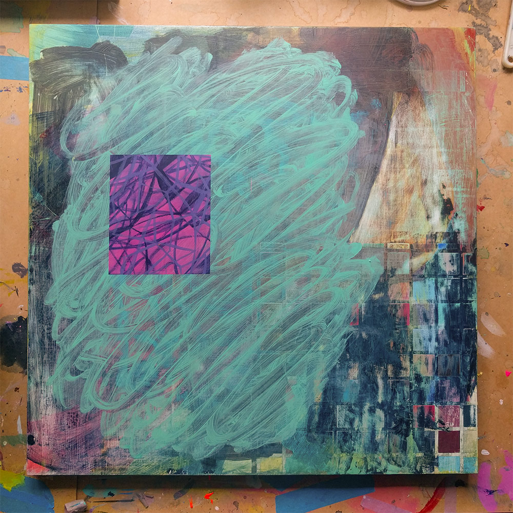 A painting – gestural green scribble with an inset pink rectangle containing inky blue scribbles.